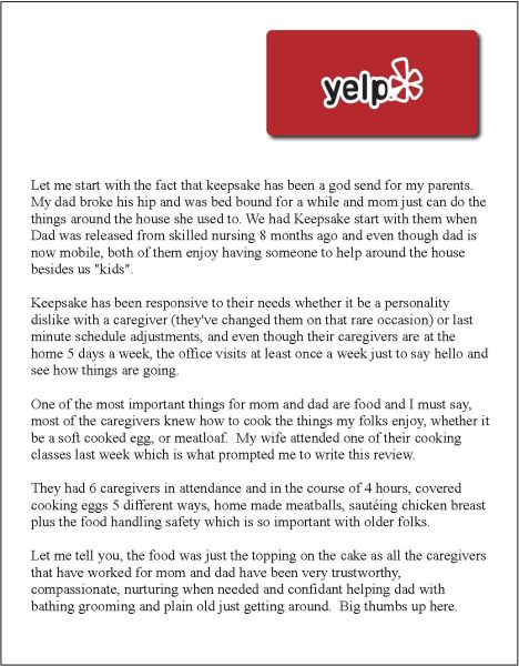 Great Review - Yelp