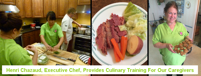 Henri Chazaud, executive chef, teaches our caregivers to cook tasty meals that senior enjoy.